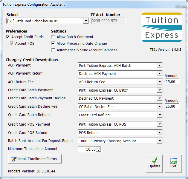 Tuition Express Configuration Assistant (TE01)