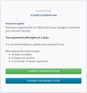 MyProcare Password Requirements