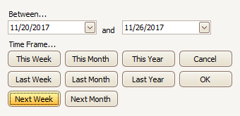 Date Range Buttons: Next Week, Next Month