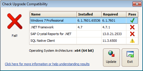 Procare Compatibility Check: Windows passes, but other components do not