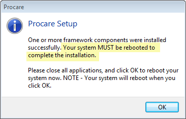 You may be asked to Reboot your Computer