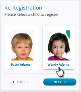 Select a Child to Register