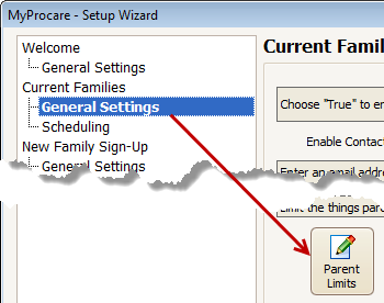 MyProcare Wizard: General Settings - Parent Limits