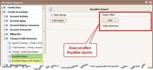 Employee Filter on Royalties Report