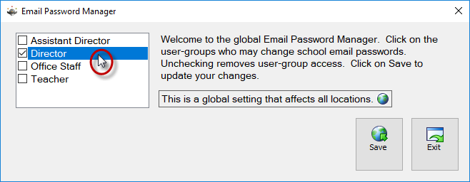 Choose User Groups Allowed to Change Email Password