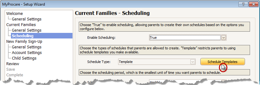 Turn On Family Selected Scheduling