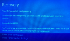 Windows 10 IOT Recovery Issue